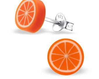 Children's Silver Orange Ear Studs