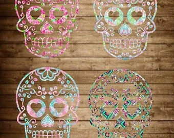 Sugar Skull decal, Lilly Pulitzer inspired decal, sugar skull sticker, yeti decal, sugar skull yeti decal, day of the dead, skull decal