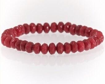 Red Ruby semi precious 5x8mm gemstone bracelet