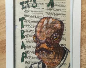 Star Wars Admiral Ackbar original book page drawing