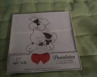 Vintage Postalettes Dog puppy by Hallmark NIP paper notes mail post