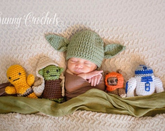 Star Wars Yoda Hat, Star Wars, Yoda, Newborn Photo Prop, Halloween Costume, Yoda Hat, Baby Hat, Baby Shower Gift, Newborn Hat
