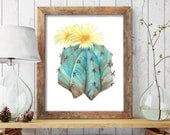 Succulent Print Aqua & Yellow Flower Watercolor Print - Wall Art Home Decor Botanical Painting Poster Cactus Print Watercolour Giclee Prints