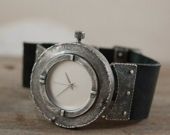 handcrafted wrist silver watch, rough silver watch, oxidized silver, raw silver
