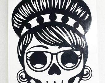 Rockabilly Sugar Skull Decal- Yeti - Tumbler - Car