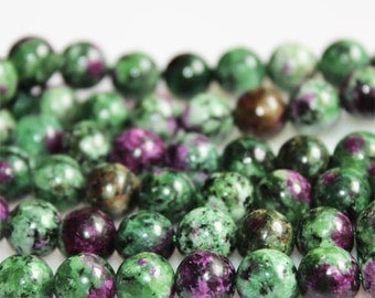 B64 Natural Ruby Zoisite Beads, Full Strand 6 8 10 12mm Round Ruby Zoisite Gemstone Beads for DIY Jewelry Making