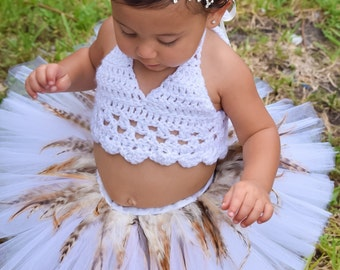PLUME, short feather trim tutu, Infants, Toddlers or girls sizes