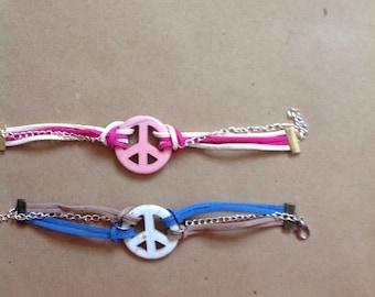 Peace sign wrap bracelet