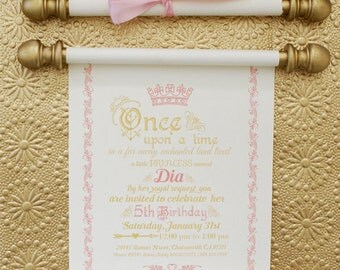 Elegant Princess Scroll Birthday Invitation In Gold And Pink Luxury