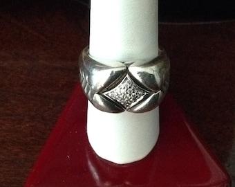 Designer SK Sterling Silver & Diamond Ring...Size 6-3/4