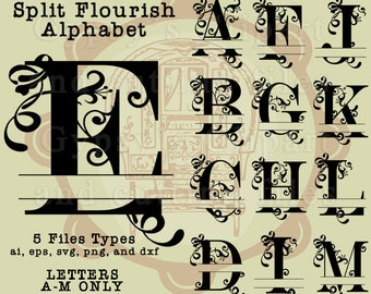 Split Letter SVG, Split Monogram Letter, Fancy Letter Swirls, SVG Font, Vector, ai,png, eps, png, dxf, Wedding Monogram, Silhouettes
