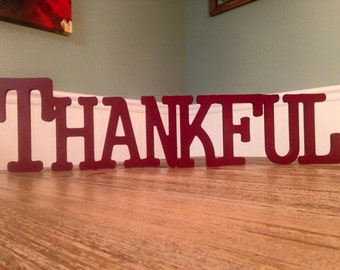 Thanksgiving Fall Wood sign THANKFUL blessed believe