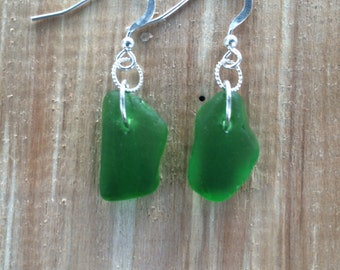Sterling Silver Green Sea Glass Dangle Earrings