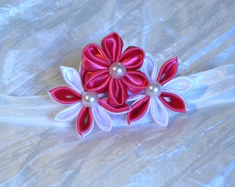 floral baby and girl headband, kanzashi art