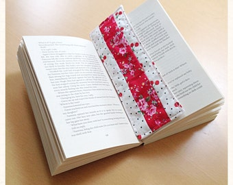 Cherry and red floral fabric bookmark