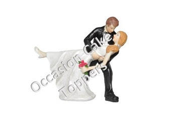 Wedding Cake Topper - Bride and Groom - Romantic Dance - Polyresin Decoration