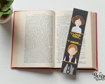 Princess Leia & Han Solo quote bookmark from Star Wars by George Lucas - I love you, I know (segnalibro Guerre Stellari - Ti amo, Lo so)