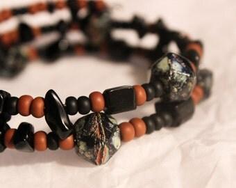 Orange and Black Memory Wire Bracelet|Orange Black Tribal Bracelet
