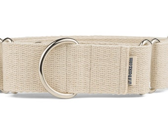 "Hemp Martingale Collar, Eco Friendly, Khaki, Lab, Water Dog, Adjustable, 1"", 1.5"""