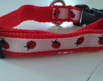 Ladybug Collar Red Black White Size Small XSmall