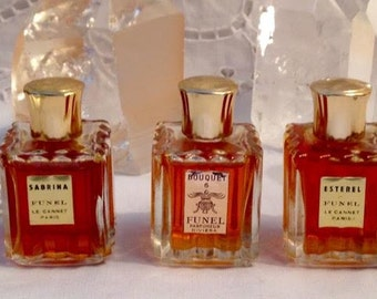 Funel, Sabrina, Bouquet, Esterel, 15 ml. or 0.5 oz. each Flacon, Pure Parfum Extrait, 1960, Paris, Cannes, France ..