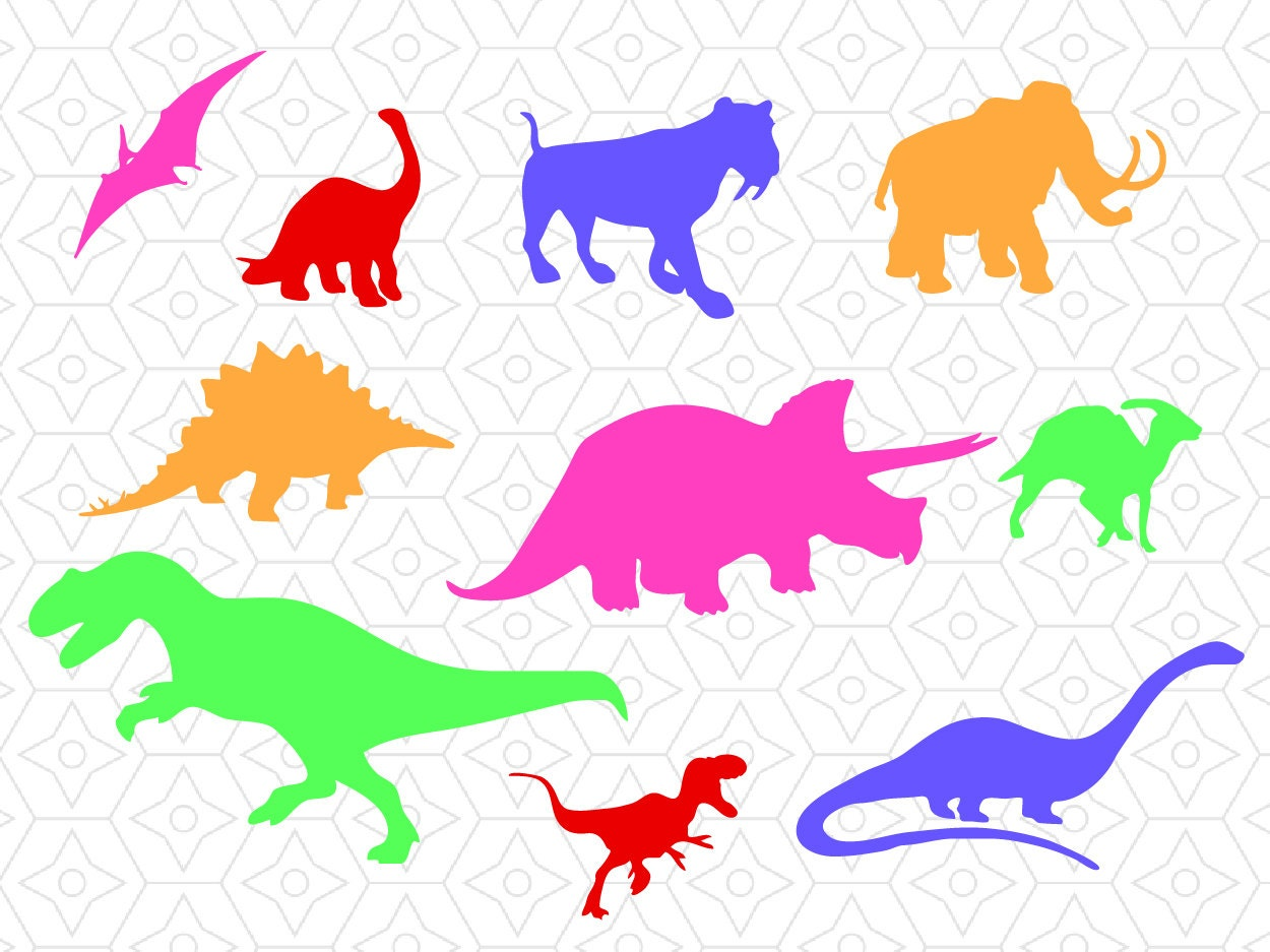 Dinosaur Silhouette Decal Collection Svg Dxf And Ai Vector