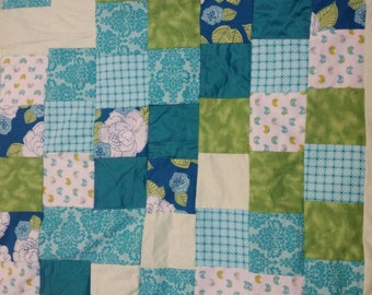 Baby quilt teal and lime green