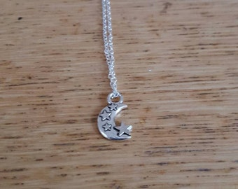 Silver star moon necklace