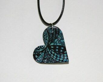 Zen Doodle Heart Necklace