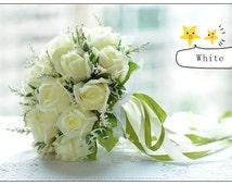 Artificial Silk Flower Wedding Bouquet Bridal Posy Flowers Rose Handmade Decor