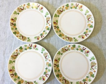 Vintage Noritake Progression Homecoming Bread and Butter Plates, Set of 4, Autumn Dinnerware, Mid Century Dishes