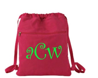Monogrammed Embroidered Authentic Pigment 14 oz. Pigment-Dyed Canvas Cinch Sack Personalized or Logo Free Shipping!