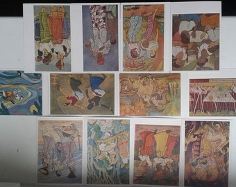 """Vintage set of 12 postcard on topic """"Modern painting Ceylon"""".Printed in USSR in 1963"""