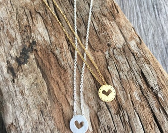 Plated Heart Stitched Pendant
