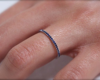 Blue sapphire and 18k solid white gold 1mm half circle micropave ring