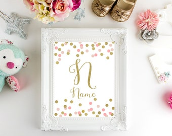 Custom name, Baby shower print, Baby girl, Baby decor, Gold pink, Digital art, Printable art, Digital poster Instant Download 8x10, 16x20