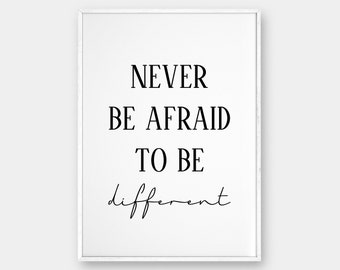 """Motivational Quote Wall, Be Different Print, Printable Poster, Scandinavian Poster, Typographic Print, Black and White, 50x70 cm, 18x24"""""""