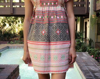 Modern Thai hill tribe square neck dress