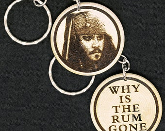 Jack Sparrow Johnny Depp Pirates Of The Caribbean Hand Made Engraved Wood Keyring Keychain by JayEngrave