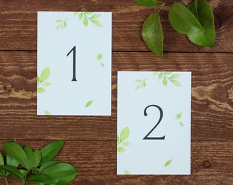 Botanical Wedding Table Numbers / Floral Table Numbers / Watercolour Table Numbers / Garden Wedding / Rustic