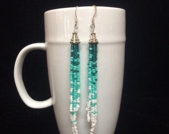 Blue Ombre Seed Bead Earrings