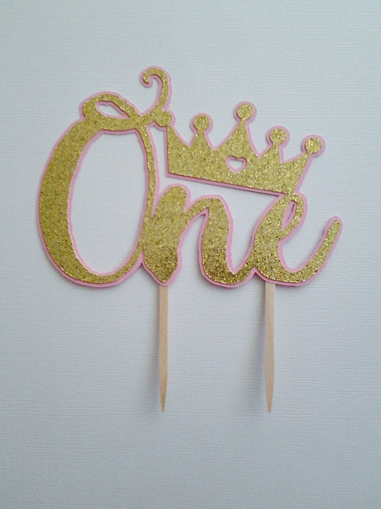 Pink and Gold Crown One Cake Topper One Cake Topper Crown Cake