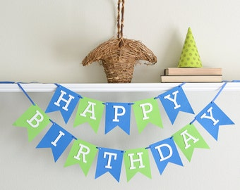 Happy Birthday Sign - Happy Birthday Banner - Boy Birthday Decorations - First Birthday Decorations - Birthday Party Supplies -