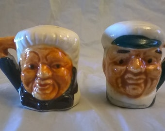 Vintage, Miniature Toby Head Salt and Pepper Shakers, 1950's