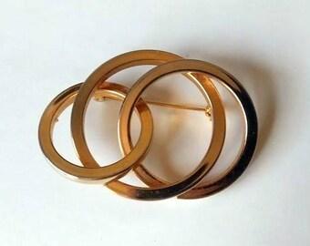 Multi Circle Triple Loop Vintage Gold Tone Brooch Pin Scarf Pin Purse Pin