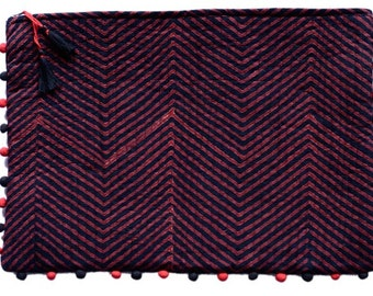 Black and Red Zig Zag Quilted Bag