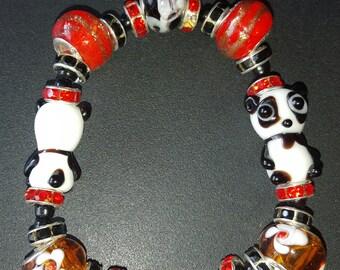 Panda Glass Bead Bracelet