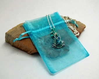 Silver and Blue Wire Wrapped Pendant Necklace Butterfly Weave