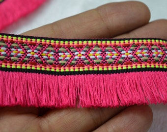 2 Yard Gypsy Bohemian Boho fringe trim, Boho Fringe tape Indian fringe trim, trim with fringe ethnic trim, fringed ribbon retro fringed trim