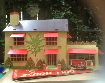 Vintage Cardboard Doll House.  The Nels